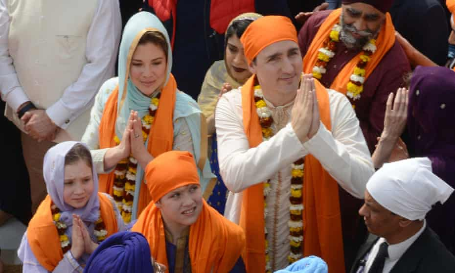 Trudeau with his wife and children in Amritsar, India in 2018.