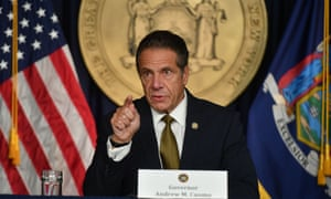 Andrew Cuomo speaks to the press at his office in Manhattan on Monday.