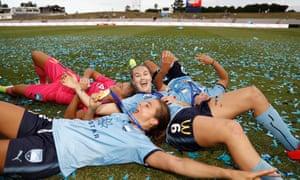 Caitlin Foord, Sofia Huerta, Aubrey Bledsoe and Danielle Colaprico of Sydney FC
