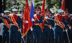 Russian military servicemen walk near Red Square in Moscow, Russia, 23 June 2020. The military parade marking the 75th anniversary of the victory over Nazi Germany in World War II will take place on the Red Square on 24 June 2020.
