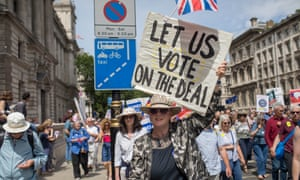 Supporters of the People's Vote march through central London, June 2018.