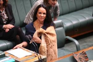 Burney wears a skin in her first speech.
