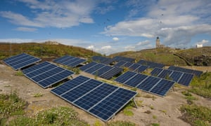 Solar panels on the Isle of May, Scotland.
