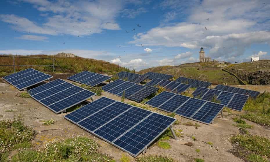 Solar panels on the Isle of May, Scotland.