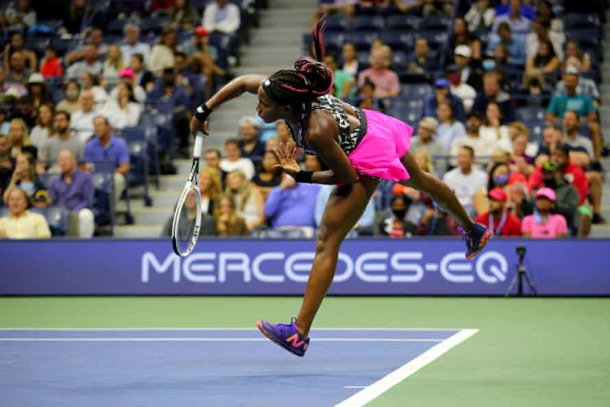 Coco Gauff in action at Flushing Meadows.
