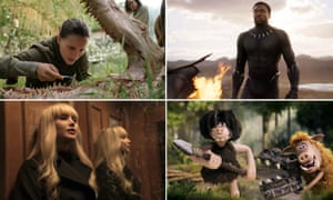 Clockwise from top left: Annihilation, Black Panther, Early Man and Red Sparrow