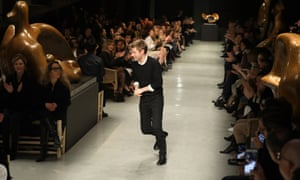 Christopher Bailey of Burberry on the catwalk.