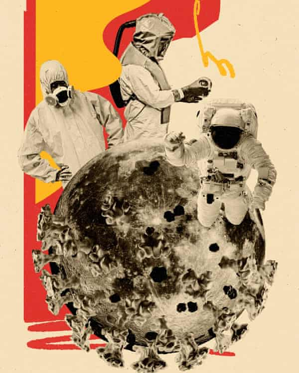 Composite illustration of a Covid particle with people around it in protective suits