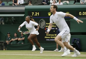 Serena Williams, left, and Andy Murray both set of to return the ball.