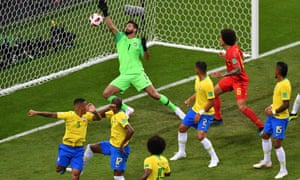 The ball deflects past Alisson off Fernandinho (No17) to give Belgium the lead.