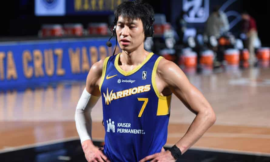 Jeremy Lin speaks to the media after a game in February