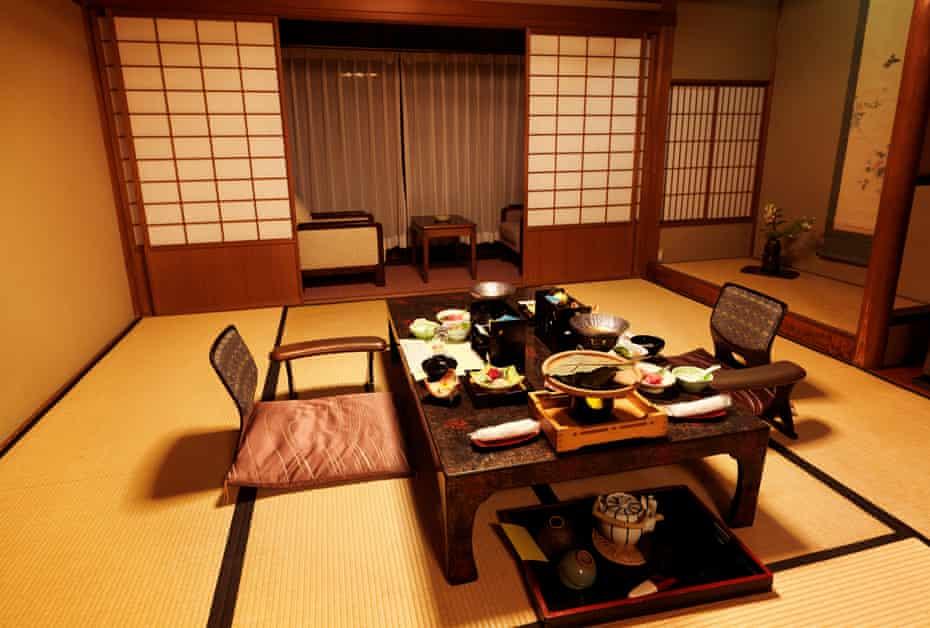 A traditional ryokan hotel room with dinner on a table, Gero, Gifu, Japan, Asia