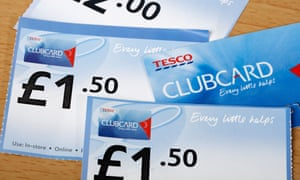 Tesco Clubcard and vouchers.
