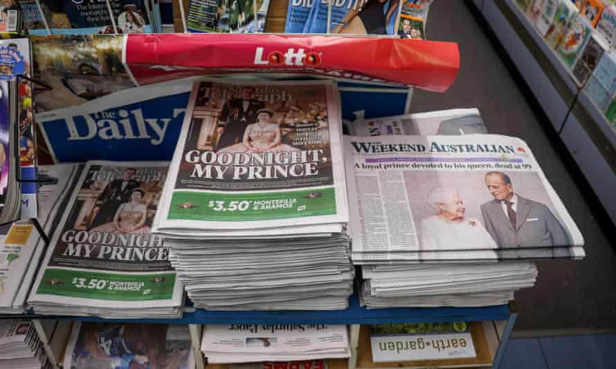File photo of Australian newspapers reporting on the death of Prince Philip