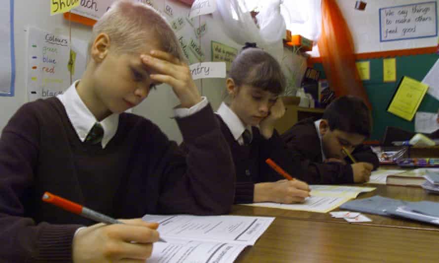 Children sitting Sats at primary school