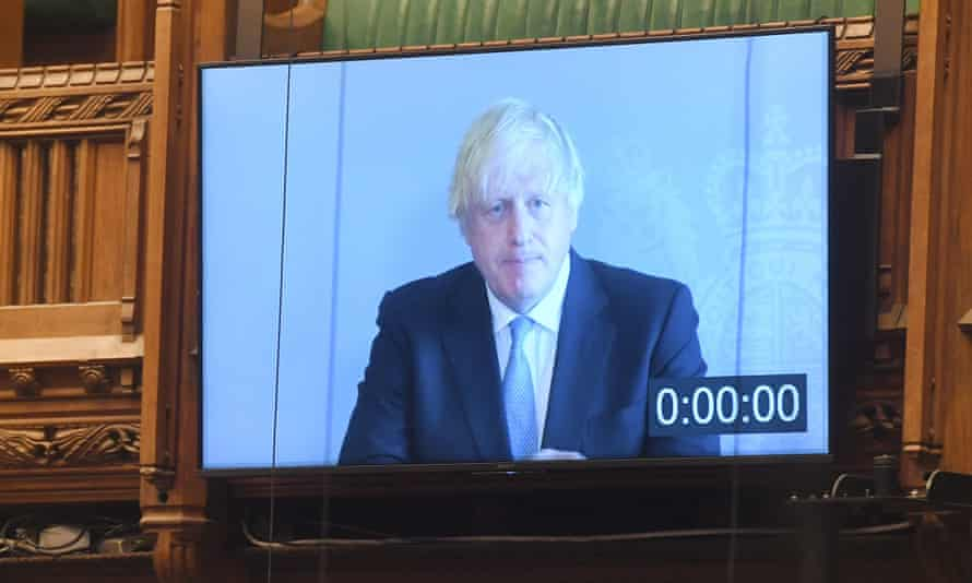 Boris Johnson answering Prime Minister's Questions from self-isolation last week.