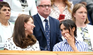 Wimbledon 2018 - Day Twelve - The All England Lawn Tennis and Croquet ClubThe Duchess of Cambridge and The Duchess of Sussex in the royal box on centre court on day twelve of the Wimbledon Championships at the All England Lawn Tennis and Croquet Club, Wimbledon. PRESS ASSOCIATION Photo. Picture date: Saturday July 14, 2018. See PA story TENNIS Wimbledon. Photo credit should read: Steven Paston/PA Wire. RESTRICTIONS: Editorial use only. No commercial use without prior written consent of the AELTC. Still image use only - no moving images to emulate broadcast. No superimposing or removal of sponsor/ad logos. Call +44 (0)1158 447447 for further information.