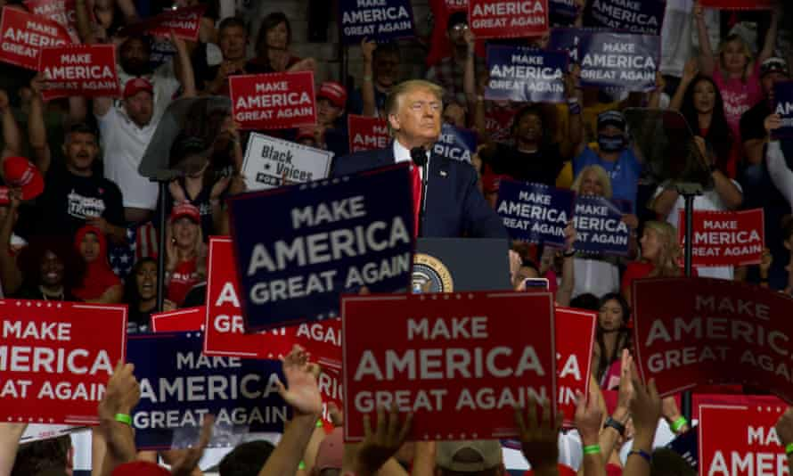 Donald Trump speaks during a campaign rally at the BOK Center in Tulsa, Oklahoma, on 21 June.