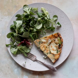 Herby new potato and cheese frittata.