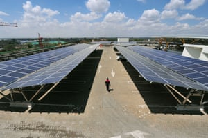 The roof-top solar carport, at the Garden City Mall in Nairobi is Africa's largest solar carport. A total of 3300 solar panels are capable of generating 1256 MWh annually