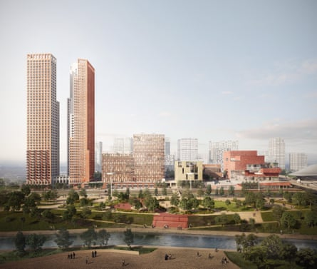 'The rise of biscuitism': plans by architects Allies and Morrison, O'Donnell and Tuomey and Josep Camps and Olga Felip for new spaces for the V&A, Sadler's Wells and the Royal College of Fashion, plus two residential skyscrapers, on the Stratford waterfront.