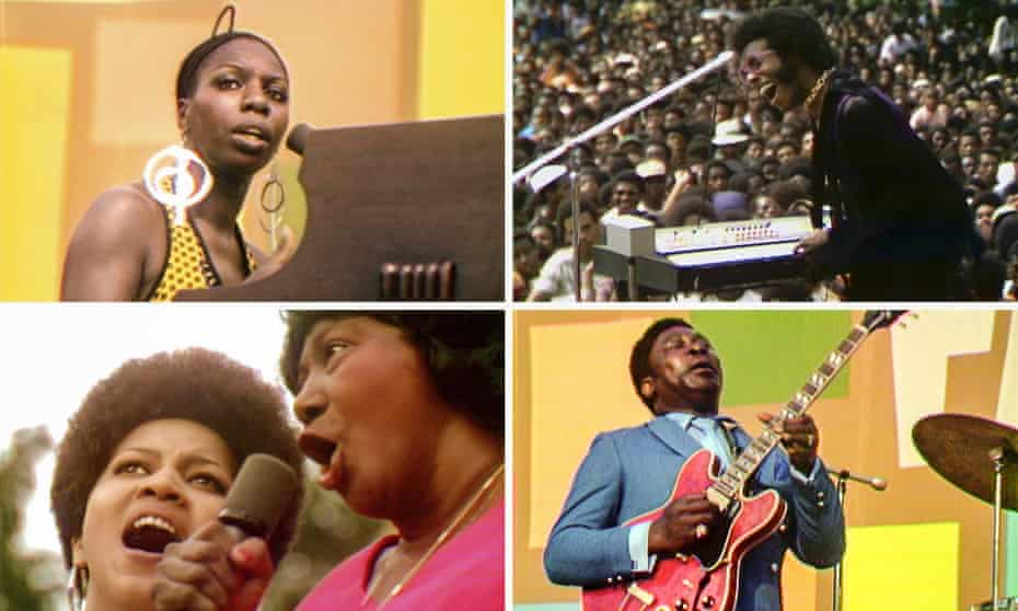 Nina Simone; Sly Stone; BB King, 'cradling his guitar like a baby'; and Mavis Staples, left, with Mahalia Jackson at the Harlem Cultural festival in 1969.