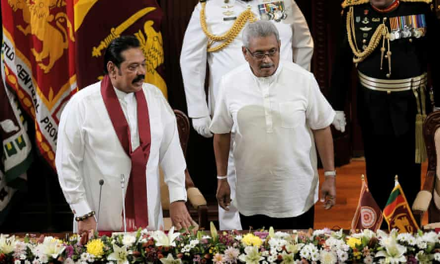 Sri Lanka's President Gotabaya Rajapaksa (R) has appointed his brother and former leader Mahinda Rajapaksa, to two of the most powerful cabinet posts.