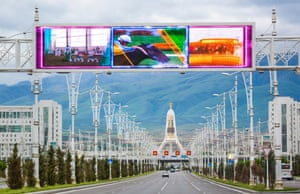 A typically deserted central avenue in Ashgabat, Turkmenistan.