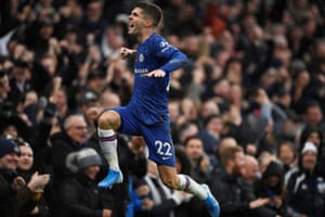 Chelsea's Christian Pulisic celebrates scoring their second goal.