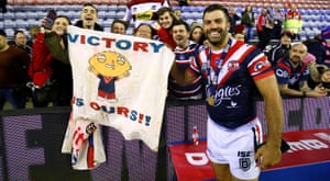James Tedesco enjoys Sydney Roosters' victory.