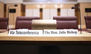 The name tag for Julie Bishop during a Senate inquiry into Bishop and Christopher Pyne's appointments after they left politics.