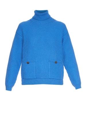 Blue polo neck jumper