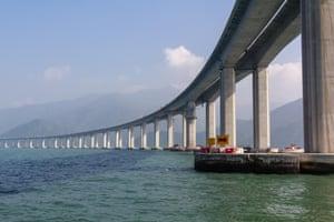 Tarnished … the Pearl river bridge.