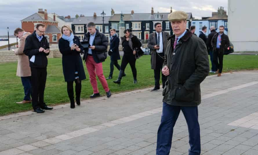 Nigel Farage on the campaign trail in Hartlepool, 11 November 2019.