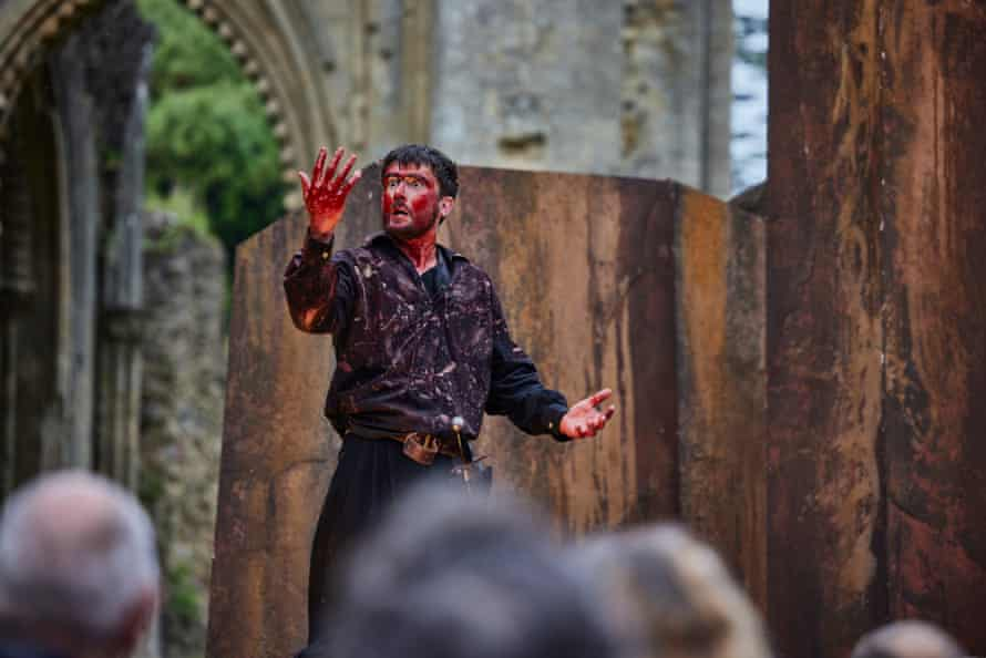 Ronnie Yorke, bloodied and harrowed as Macbeth, at Glastonbury Abbey