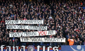 Crystal Palace fans show their support for standing at Selhurst Park in April
