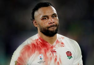 A dejected and bloodied Billy Vunipola of England walks off after defeat to South Africa in the Rugby World Cup final.