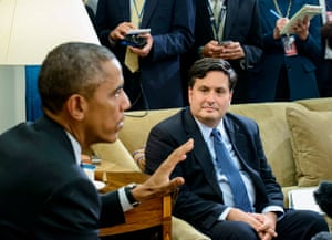 """In this file photo taken on October 22, 2014 Ebola response coordinator Ron Klain (R) listens while US President Barack Obama makes a statement to the press on the Canadian Parliament shooting after their meeting in the Oval Office of the White House in Washington, DC. - US President-elect Joe Biden on November 11 announced he has chosen Ron Klain, a seasoned Democratic operative, as his chief of staff, his first public White House personnel choice. """"Ron has been invaluable to me over the many years that we have worked together,"""" Biden said in a statement on the 59-year-old who served as chief of staff for Biden when he was vice president."""