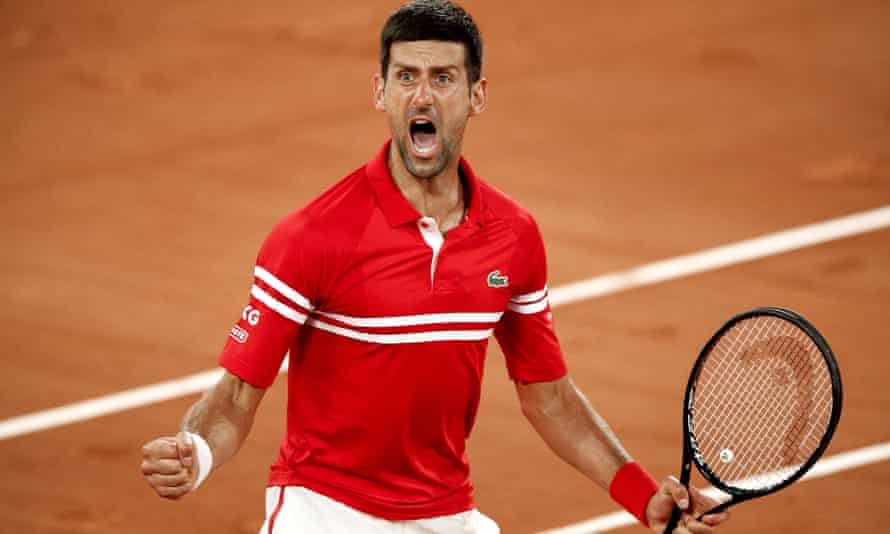 Novak Djokovic exploded with emotion after beating Matteo Berrettini in the quarter-finals of the French Open