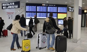 Passengers at the Orly airport, south of Paris