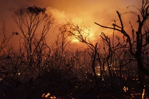 Wildfire rated as 'catastrophic' burns in Deepwater National Park in Queensland, Australia.