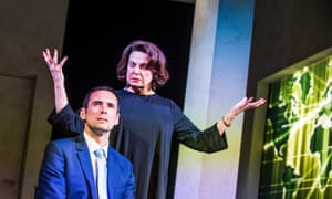 Nails the contradictions of Tory philosophy … Ann Mitchell as Ayn Rand and Steve John Shepherd as Gideon in David Hare's Ayn Rand Takes a Stand. Photographs: Tristram Kenton for the Guardian