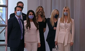 From left, pictured before the start of the presidential debate: Donald Trump Jr, Eric Trump, Kimberly Guilfoyle, campaign adviser and wife of Eric Trump Lara Trump, Tiffany Trump and Ivanka Trump