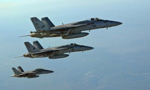 Three US Navy F-18E Super Hornets