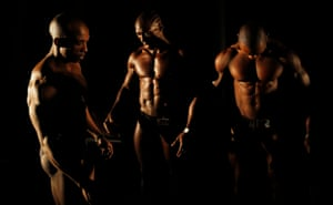 Bodybuilders for taking to the stage to show off their physiques at the annual South Africa body building and fitness championships.