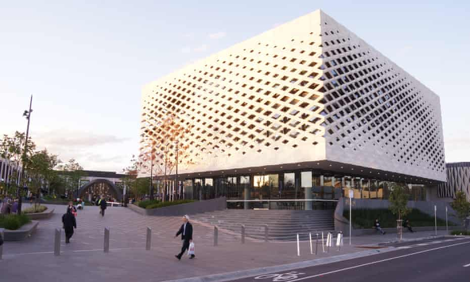 Suburban mall with a public library at its centre in Melbourne