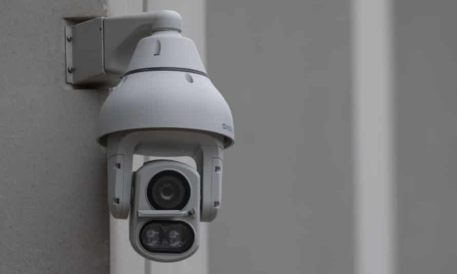 A CCTV camera in Pancras Square, near King's Cross station in London.
