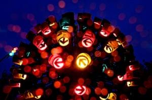 Munich, GermanyThe installation 'Traffic Light Flower' by artists Johannes Brunner and Raimund Ritz.