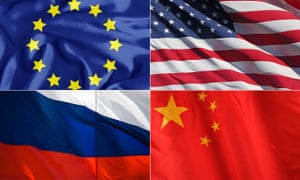 Flags (from top left) of the EU, US, Russian and China.