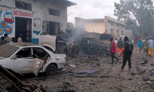 Aftermath of the car bombing at the gate of Naso Hablod hotel in Mogadishu.